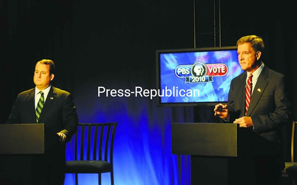 Congressional candidates Republican Matt Doheny (left) and Democrat incumbent Bill Owens square off in Wednesday's debate on Mountain Lake PBS television. The debate can be seen on Mountain Lake PBS at 8 tonight; 5:30 a.m. and noon Friday; 7 p.m. Saturday; and 5:30 and 10 a.m. Sunday.<br><br>(Staff Photo/Kelli Catana)