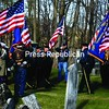 Flags fly in the breeze, adding color to the pageantry Sunday during a remembrance ceremony for veterans at the First Congregational Church's cemetery in Crown Point.<br><br>(Staff Photo/Alvin Reiner)