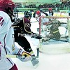 Plattsburgh State's Jared Docking (39) watches Vick Schlueter's shot hit the back of the net for the Cardinals' fifth goal of an exhibition game against Concordia Monday at Stafford Ice Arena. Docking and Chris Wieland (in front of net) assisted on the goal. The Cardinals won 6-2.<br><br>(P-R Photo/Gabe Dickens)