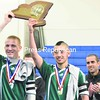 Chazy captains Kaleb Snide (left) and Jordan Barriere show off a new piece of hardware for the Chazy High School trophy case.<br><br>(P-R Photo/Pat Hendrick)