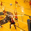 Beekmantown's Krysten Koktowski (19) plays the ball at the net while teammates Emily Wyand and Kiana Archer follow the action in Section VII Class Bvolleyball final Saturday at Clinton Community College. Defending for Plattsburgh is Katie Cantwell (10) while Olivia Harrigan is also at the net. Beekmantown won 3-1. Bonus photos will be available Monday afternoon at pressrepublicanphotos.com<br><br>(P-R Photo/Andrew Wyatt)