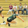 Sarah Williams, backed up by Tessa King, dives to dig out a ball during Northern Adirondack's volleyball playoff game versus Chateaugay. The Bobcats won.<br><br>(P-R Photo/Pat Hendrick)