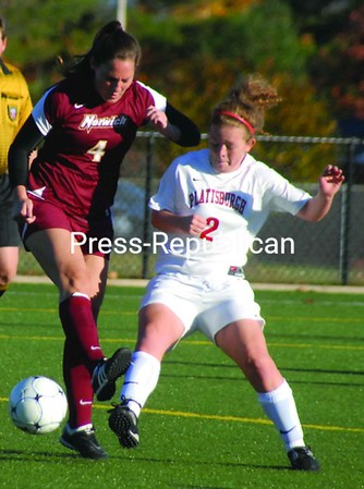 Plattsburgh State's Emily LaLone (2) battles Norwich's Sarah Voss (4) for possession  Wednesday at the Plattsburgh State Fieldhouse Complex. The Cardinals rolled to a 5-0 win.<br><br>(P-R Photo/Andrew Wyatt)