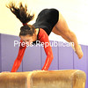 Beekmantown's Mikaela Frechette launches herself off the vaulting horse.<br><br>(P-R Photo/Pat Hendrick)