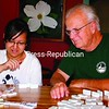 Charlie Minke and Anh Thi Phuong Pham play dominoes at his house in Newcomb. Minke and his wife, Laurinda, are hosting the Vietnamese student while she attends Newcomb Central School. Minke served in Vietnam during his years in the military.<br><br>(Staff Photo/Alvin Reiner)