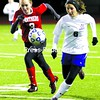 Seton Catholic's Maddison Murnane (6) races Brushton-Moira's Brooke Boyea to the ball during Tuesday's Class C regional game at Plattsburgh High. The Knights won 2-1. Bonus photos of this match will be available at pressrepublicanphotos.com<br><br>(P-R Photo/Gabe Dickens)