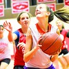 Shauna Manning looks for a chance to shoot as Kirstin Lagree defends during a recent Saranac Lake High School girls' basketball practice. <br><br>(P-R Photo/Pat Hendrick)
