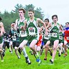 The Malone Huskies (in green) set the pace in the first mile of the Section X Cross-Country Championships Thursday in Malone. The Huskies easily overwhelmed the field. Rourke Marlow (369), Doug Fitzgerald (360), Morgan Marlow (368) and Conor Gordon (363) lead the way for Malone.<br><br>(P-R Photo/Pat Hendrick)