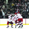 Plattsburgh State players (left to right) Patrick Jobb, Matt Bessing, Cody Adams and Daniel Cobb celebrate Bessing's third-period goal that gave the Cardinals a 3-2 win over Norwich University in Saturday night's championship game in the Annual PrimeLink Great Northern Shootout.<br><br>(P-R Photo/Gabe Dickens)