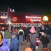 The Canadian Pacific Holiday Train pulls into the Port Henry train station covered with lights. The train also stopped in Ticonderoga and Plattsburgh Monday night. <br><br>(Staff Photo/Lohr McKinstry)