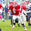 C.J. Stewart bursts through the Ausable Valley defense in the first quarter on his way to Saranac Lake's first touchdown in Section 7-10 Class C Championship game. Saranac Lake won 55-6.<br><br>(P-R Photo/Pat Hendrick)