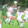 Oswego's Brittany Williams (20), Plattsburgh State's Emily LaLone (7) and Oswego's Steph San Antonio contest the ball in the air during Friday's SUNYAC women's soccer game. Joining the action is the Cardinals' Lindsey Keyser (3). Plattsburgh State recorded a 1-0 victory on Megan Rivage's goal.<br><br>(P-R Photo/Andrew Wyatt)