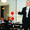 Richard Gervais, supervisor of teacher education for the New York State Education Department, speaks at a teacher conference last week at Plattsburgh State.<br><br>(P-R Photo)