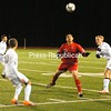 All eyes are on the bouncing ball Thursday night as Plattsburgh High's Connor Benoit (10), Beekmantown's Jacob Morrow (19) and Plattsburgh High's Shea Crockett (right) wait for it to come down. PHS won 1-0 on Senior Night.<br><br>(P-R Photo/Andrew Wyatt)