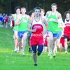 Saranac's Josh Wade leads the pack in CVAC cross country at the Cadyville Recreation Park Tuesday. Seton Catholic's Zach Ziemer (left) and Barrett Waling (right) are in close pursuit. Wade won the race in 17:07 with Ziemer, second, and Seton Catholic's Mitchell Ryan, third. Waling came in fifth.<br><br>(P-R Photo/Andrew Wyatt)