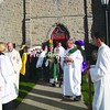 Bishop of Ogdensburg the Most Rev. Terry LaValley (wearing mitre), leaves St. Mary's Church through an honor guard of Fourth Degree Knights of Columbus. At right center is St. Mary's Deacon Len Patrie; altar server Matthew Coupal stands at far right. The Rev. Jay Seymour, a former pastor, visits with altar servers Ethan Favreau (far left) and Matthew Tetreault at the left of the photo.  Also at the Mass of celebration were members of Catholic Daughters Court Lily of the Mohawk #1451, other visiting clergy and several nuns who once taught or served as principal at St. Mary's Academy: Sisters Solange Poutré, Elaine Voyer, Rosina Bechard, Mary Ann Gour, Bonita Coté, Marcelle LaPearle, Theresa Fournier and Mary Paul Blank. <br><br>(Staff Photos/Suzanne Moore)