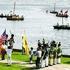 The 15th Regular and Peru militia surrender to British forces after taking heavy casualties in this skirmish reenactment near the Champlain Monument along the Saranac River Sunday afternoon. On the water, American and British ships confronted one another with canons, rifles and even hand-to-hand combat as the crew of a British vessel boarded an American ship.<br><br>(P-R Photo/Gabe Dickens)