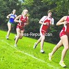 Saranac Lake's Chelsea Schachtler leads a group of girls along the course Wednesday in the CVAC cross-country opener at Plattsburgh State. Seton Catholic swept both the boys' and girls' competition. Bonus Photos will be available at www.pressrepublican.com.    <br><br>(P-R Photo/Andrew Wyatt)
