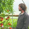 Adam Hainer takes a look at one variety of tomatoes he grows at Juniper Hill Farm.<br><br>(P-R Photo/Alison Hain)