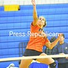 Danielle Balestrini goes high to strike the ball during a hitting drill in practice last week for the Lake Placid volleyball team.  <br><br>(P-R Photo/Pat Hendricks)
