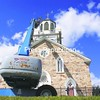 The church tower at Church of the Assumption in Redford gets a makeover by G.S. Restoration Services of Auburn. The work is expected to be complete in a week or so.<br><br>(P-R Photo/Gareth Plumadore)