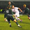 Plattsburgh State's Danny Byrnes (8) tries to get between three Castleton State defenders, including  Anthony Buehler (11), during Wednesday night's non-conference men's soccer game. Bart Misiak's goal in the second overtime lifted the Cardinals to a 1-0 win.<br><br>(P-R Photo/Andrew Wyatt)