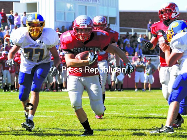 Nick Bushey of the Beekmantown Eagles scores on a 5-yard run Saturday against Gouverneur. Beekmantown advanced to 2-0 with a 28-7 victory over the Wildcats.<br><br>(P-R Photo/Gabe Dickens)