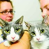 Kat Hicksrivers (left) and Mandie Rabideau, veterinary assistants at Eagle's Nest Veterinary hospital, hold two of the cats that were abandoned in the City of Plattsburgh at the beginning of September. The City Police Department is looking for suitable new homes for the cats, which are being housed in the hospital.<br><br>(Staff Photo/Kelli Catana)