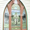 These stained-glass windows are targeted for restoration at St. Philip Neri Catholic Church in Westport. Donations are being sought to help fund the work.<br><br>(Staff Photo/Lohr McKinstry)