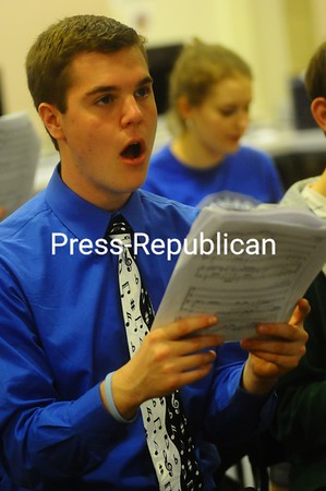 "Senior Adam Emery sings ""Elijah Rocks"" by Moses Hogan during choir practice at Plattsburgh High School. Emery recently performed at the MENC All-Eastern Conference in Baltimore.<br /><br />(P-R Photo/Gabe Dickens)"