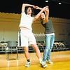 """Kevin Lewis and Mary Kate Carter of Plattsburgh High rehearse a scene from a two-act play called """"The Pride"""" that will hit the Strand stage in May, the first performance there in more than 10 years. All proceeds from the event will go toward renovation efforts.<br><br>(P-R Photo/Andrew Wyatt)"""