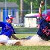 Plattsburgh Cardinals' runner Steve Burris steals second base while Meron's  Expos'  Pat Shaughnessy  applies the late tag during the second game of Sunday's CVBL semifinal playoff series at Lefty Wilson Field. The Cardinals recorded 7-5 and 3-2 victories to move into the finals against the Lyon Mountain Miners.<br><br>(P-R Photo/Gabe Dickens)