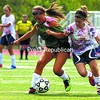 Northern Adirondack's Elle Warick (left) and Liz Rennie of AuSable Valley (right) battle for the ball Saturday in a girls' soccer scrimmage at AuSable Valley Central School.<br><br>(P-R Photo/Gabe Dickens)