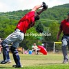Fourth Ward Cardinals catcher Craig Bujold leans backwards while holding on to a foul pop during the eighth inning of Sunday CVBL playoff game against the Lyon Mountain Miners.<br><br>(P-R Photo/Gabe Cickens)