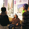 Matt Hall (middle) chats with Meghan Risley and Sean Godreau after a meeting to discuss plans for a large-scale community dinner Monday night at the ROTA Gallery on Clinton Street in Plattsburgh.<br><br>(P-R Photo/Gabe Dickens)