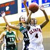 Clinton Community College's Kiyanna Edwards takes a shot under pressure from Gabriella Badalucco of Hudson Valley Community College Saturday in women's basketball in Plattsburgh, Hudson Valley spoiled Clinton's regular-season home finale, winning 59-53..<br><br>(P-R Photo/Gabe Dickens)