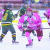 Plattsburgh State's Teal Gove skates up ice as teammate Megan DiJulio (right) and Oswego defenseman Kathryn Sbrocchi (28) watch. The Cardinals, who wore special jerseys to raise breast cancer awareness, won 2-1.<br><br>(P-R Photo/Andrew Wyatt)
