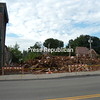 Work crews from the Franklin County Highway Department and the Village of Malone Public Works Department knocked down the last of Nikki's Place about 3 a.m. Tuesday, about 24 hours after the center section of the condemned building collapsed. <br><br>(Staff Photo / Denise A. Raymo)