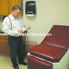 Dr. Jonathan Beach in one of the new examination rooms at Urgicare in Plattsburgh.<br><br>(P-R Photo/Andrew Wyatt)