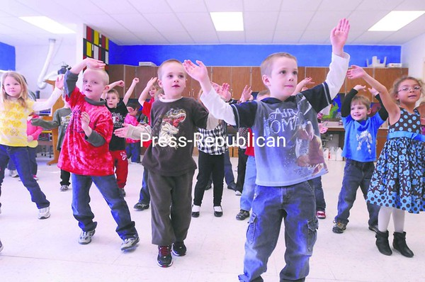 Beekmantown Central School children try out a Zumba exercise class during the school's recent two-day Winter Wake Up Festival.<br><br>(P-R Photo/Andrew Wyatt)