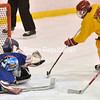Suzanne Fiacco pokes the puck under Western New York goalie Ashley Schneegold for the only goal in the game that won Adirondack the Empire State Games women's hockey gold. More Page B1.<br><br>(P-R Photo/Pat Hendrick)