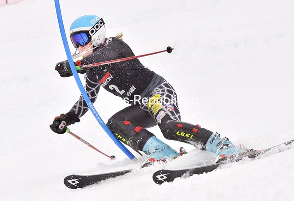 Katelyn Madden of Saranac Lake takes a tight line around a gate during the slalom segment of Thursday's super combined competition at the FIS Eastern Region Junior Finals at Whiteface Mountain. She finished third overall.<br><br>(P-R Photo/Pat Hendrick)