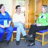 Debra Lee (from left) and Joellen Enns chat with Elli Collins, the facilitator of the Breast Cancer Support Group, recently at the FitzPatrick Cancer Center in Plattsburgh.<br><br>(P-R Photo/Andrew Wyatt)