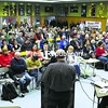 A packed cafeteria at LP Quinn Elementary School in Tupper Lake listens to a speaker talk about why he wants to see the Adirondack Club and Resort project approved by the Adirondack Park Agency. More than 400 people showed up for Wednesday's hearing on the proposed development.<br><br>(P-R Photo Jack LaDuke)