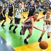 Saranac Lake's Shauna Manning (3) and Saranac's Morgan O'Connell (14) race for a loose ball during the CVAC Exceptional Seniors girls' game Tuesday at Seton Catholic. Peru's Stephanie Demarais (5), Kelly Kezar (10) and Emily Decker (12), along with Lake Placid's Megan Riley (11), look on. Bonus photos will be available midday at pressrepublicanphotos.com.<br><br>(P-R Photo/Andrew Wyatt)