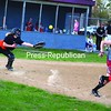 Beekmantown's Danyka Hemingway races to first as Plattsburgh High catcher Karlie Neale can't quite make the grab on the pop-up in CVAC softball action at South Acres Thursday. PHS swept Beekmanrtown in a doubleheader.<br><br>(P-R Photo/Andrew Wyatt)