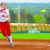 Saranac's Sara LoTemplio (12) fires off a pitch during a CVAC softball game against Moriah Tuesday. The Chiefs won, 23-0, in five innings.<br><br>(Staff Photo/Ryan Hayner)