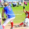 Saranac Lake's Megan Moody (right) slides safely into home with AuSable Valley pitcher Brittany Friedrich trying to apply the tag during a CVAC softball game Wednesday. Saranac Lake won, 12-9. Bonus photos will be available midday at pressrepublicanphotos.com.<br><br>(P-R Photo/Andrew Wyatt)