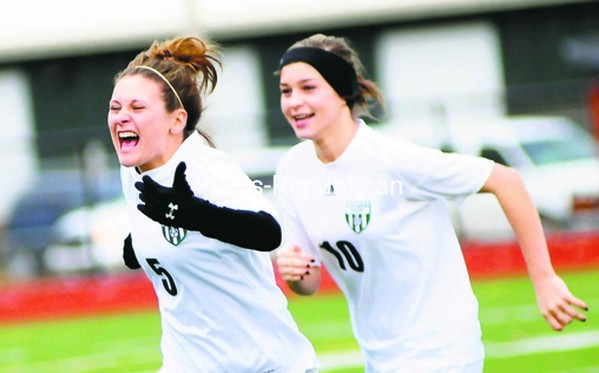 Chazy girls' soccer players Alexis Guay (5) and Amber Polomsky (10) react following the Eagles' 2-1 victory over Chateaugay in regional play at Plattsburgh High School Saturday.<br><br>(P-R Photo/Rob Fountain)