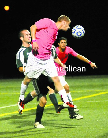 Pat Shaughnessy and the Plattsburgh State men's soccer team hosts Potsdam today in a SUNY Athletic Conference Tournament play-in game at the Field House.<br><br>(P-R Photo/Rob Fountain)